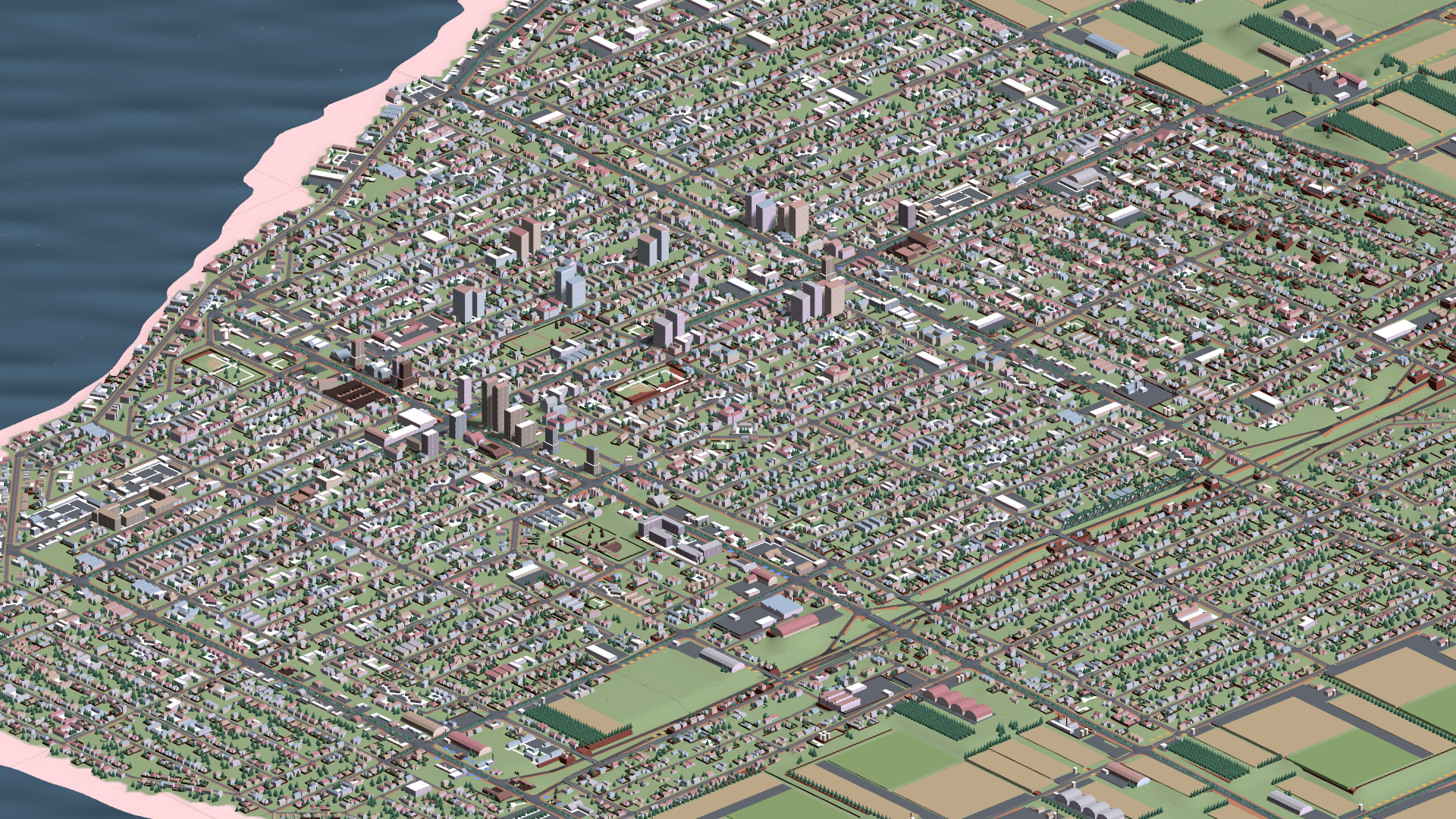Displaying many buildings at once. Instanced rendering dramatically improves performance.